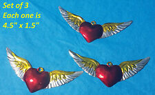 """Set of 3 Heart with Wings Mexican Handmade Painted Tin Milagro Art 4.5"""" x 1.5"""""""