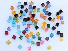 SWAROVSKI® Crystal Cubes,Art#5601 4mm, 21 Assorted Colors,84 pcs,Square Beads