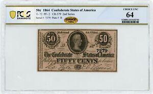 1864 T-72 50c Confederate States of America Note - CIVIL WAR Era PCGS Ch.CU 64
