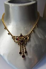 VNT  JULIANA? RUBY RED CRYSTAL PRONG RHINESTONES NECKLACE/ EARRINGS SET/ GOLD