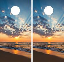 Sunrise Beach LAMINATED CORNHOLE WRAP SET High Quality Vinyl Board DECAL
