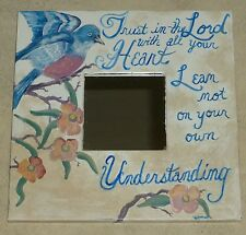 Hand Painted Bluebird Mirror Scripture Proverbs 3:5 Trust in Lord RAMfish Artist