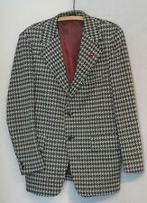 Disco Green Gray Houndstooth Polyester Knit 70s Jacket C42 Rugby Sports