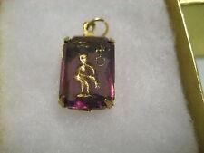 Vintage Zodiac sign AQUARIUS  etched intaglio glass cabochon pendant