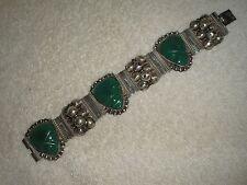 """Vintage TAXCO Mexico Teal Green Jade Mayan Masks Sterling Bracelet - """"ANR"""" Stamp"""