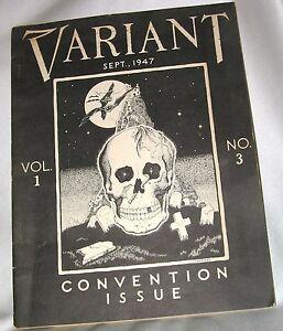 VARIANT Magazine Sept 1947 Vol. 1 No. 3 Convention Issue Philadelphia PSFS Skull