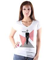 David Bowie Women White T-shirt V-Neck Tee Shirt Rock Ziggy Stardust