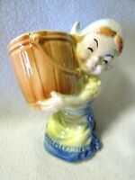 """VINTAGE DUTCH GIRL WITH BARREL HIGH GLOSS PLANTER/FLOWER POT-NEVER USED-6 1/2"""" H"""