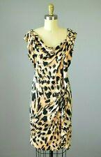 YOANA BARASCHI Silk Stretch Leopard Print Sheath Dress Size Small