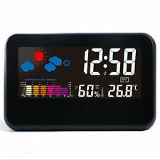 Digital LED Thermometer Humidity Meter Hygrometer Deck Temperature Clock Alarm