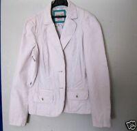 Tolle leichte Damen Blazer-Jacke Esprit  Gr. 40 L weiß beige Streifen Baumwolle