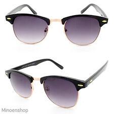 Black Gold Retro Horned Rim Half Frame Sunglasses Vintage 40's Men Women's UV400