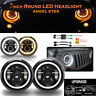 """2x 7"""" Inch Round LED Headlights Halo Angle Eye For LAND ROVER DEFENDER 90 110 E9"""