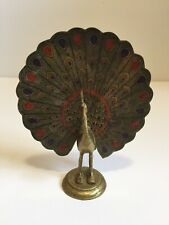 Vintage Decorative Brass Peacock India Decor Red Purple/blue Colors 4 1/2�