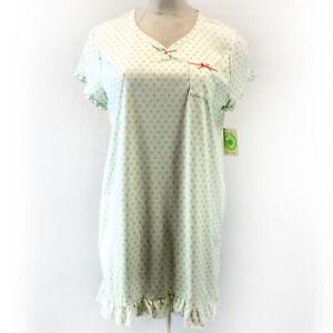 White Orchid Button Green Geo Print Ruffle Nightie Sleepwear Pocket 1X