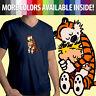 Calvin and Hobbes Hugging Best Friends Comics Tiger Fun Mens Tee V-Neck T-Shirt