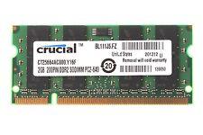 2GB Crucial 2GB 2Rx8 PC2-6400 DDR2-800MHz 200pin CL6 Sodimm Laptop Memory RAM
