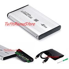 """✔ HARD DISK CASE BOX SLIM ESTERNO 2,5"""" SATA HD HDD USB 2.0 CAVO DRIVE ADATTATORE"""