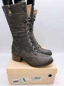AMS Women's Confidence Lace-Up Combat Boots - Grey US 7
