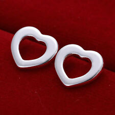 *UK* 925 SILVER PLT HOLLOW OPEN FLAT LOVE HEART STUD EARRINGS LADIES GIFT WOMENS