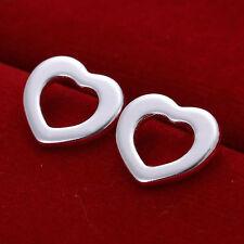 *UK Shop* 925 SILVER PLT HOLLOW OPEN FLAT LOVE HEART STUD EARRINGS LADIES WOMENS