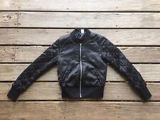 H&M Divided Satin Bomber Jacket, Women's Size 4 - Black
