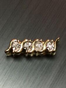 Vintage KLJCI 14K Yellow Gold Slide Charm Bracelet Spacer Bar