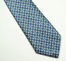 SULKA 100% Silk Neck Tie Square Foulard Floral Blue
