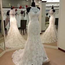 White/Ivory Lace Mermaid Wedding Dress Vintage Halter Bridal Ball Gown Custom 6+