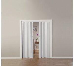 White Oak Effect Folding Double Central Opening PVC Door Accordion Panels