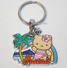 Hello Kitty HAWAII Waving Palm Tree Ocean Metal Charm Key Ring Chain Keychain
