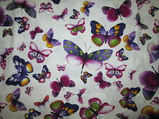Butterfly Butterflies Viola Purples Pinks Ivory Cotton Fabric BTHY