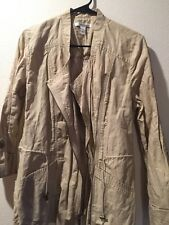 Kenneth Cole Womens Light Weight Jacket Roll-Up Sleeves Size 8 Khaki