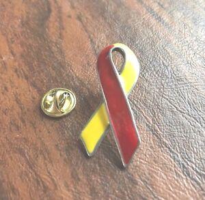 SALE PRICE !!!! 1 Red and Yellow Hepatitis C Awareness Ribbon Enamel Lapel Pin,