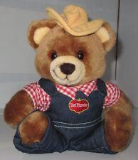 Vintage 1985 Yumkin Dakin Del Monte Teddy Bear Plush With Hat Shirt Overalls