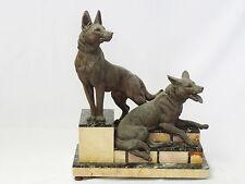 ANTIQUE c.1892 FABRICATION FRANCAISE PARISIAN SCULPTURE TWO GERMAN SHEPHERD DOG