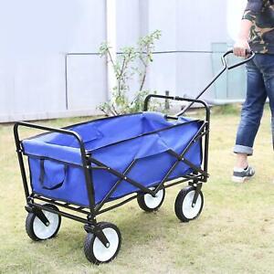 Heavy Duty Foldable Garden Trolley Cart Wagon Truck Wheelbarrow Blue &Red