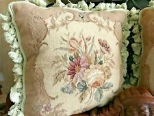 Shabby Chic Wild Flowers Hand Made Needle Point Pillow Case Pillows Fringe Trim!