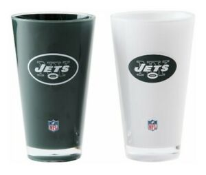 New York Jets 20oz Insulated Acrylic Tumbler 2 PACK NFL Mug Cup White Green