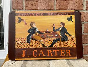 Strangers Resort Reproduction J Carter New England Folk Art Painting Bar Wood