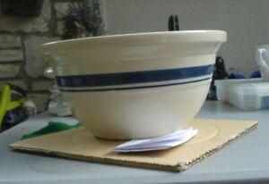 "Roseville Friendship Pottery 2 Blue Stripes 10"" 4 Qt. Mixing Bowl"