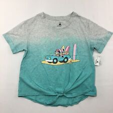 Disney Parks Minnie Mouse Daisy Duck Tie Top Girls Size Xl Grey Blue