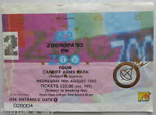 ☪✝★ U2 TICKET Concert ZOOROPA Cardiff Arms Park WALES 18.08.1993