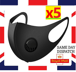 5 x Face Mask With Filter Breathable Air Flow Washable Mouth Protection UK Free