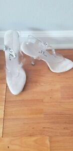 Ellie pageant Clear High Heels womens shoes size 7 stiletto's goodshape