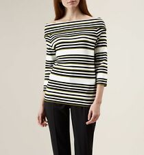 Hobbs smart striped Francine Sweater /Jumper/top in Ivory Multi UK size XS £79