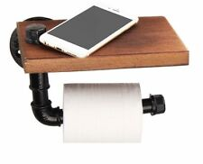 Industrial Retro Iron Toilet Paper Holder Bathroom Wooden Shelf