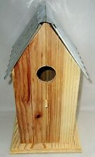 "Wooden Bird House W/ Metal Roof 11""T X 6.25""W X 6""D Clean Out Door on the Back"