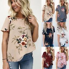 UK Plus Size Womens Holiday Tops Summer Beach Ladies Floral Blouse T-Shirt 6-20