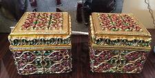 2 BOITES A BIJOUX EN BOIS décors polychrome fleur RUSSE ITALIE ANCIENNE doré or